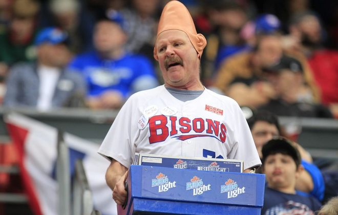 """Conehead"" Tom Girot, an institution in Buffalo sports, now has a namesake beer: Conehead IPA. (Harry Scull Jr./Buffalo News file photo)"