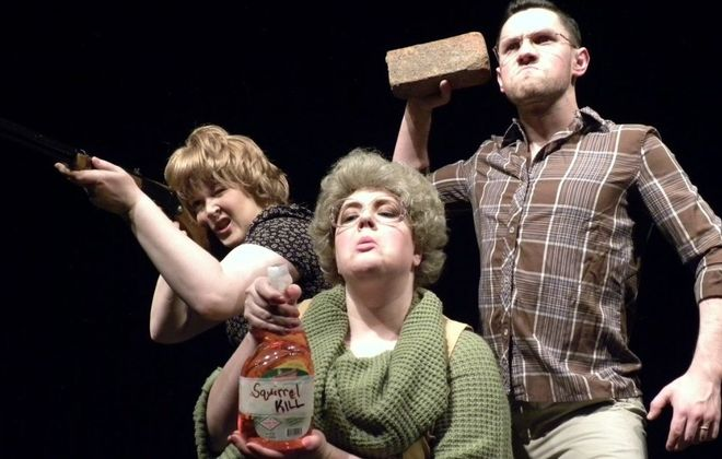 """Edith Grossman, Bethany Sparacio and Tyler Brown star in """"Buffalo Quickies"""" 2016 at Alleyway Theatre."""