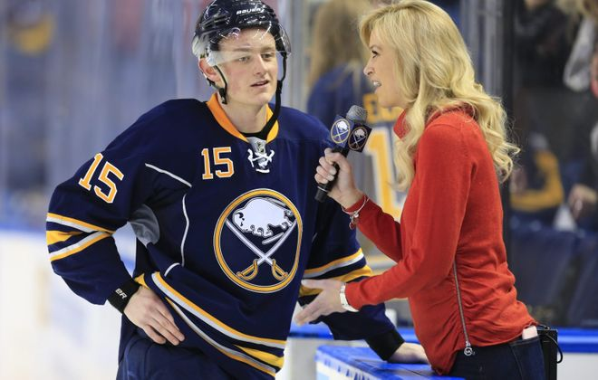 Buffalo Sabres forward Jack Eichel is interviewed by Lauren Hall after defeating the Colorado Avalanche at the First Niagara Center on Sunday, Feb. 14, 2016. (Harry Scull Jr./Buffalo News file photo)