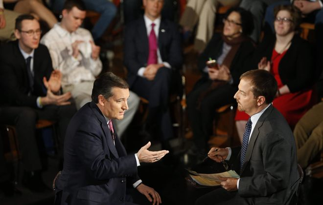 Chuck Todd lobbed or hurled one question after another at Sen. Ted Cruz, talking about everything from economics, politics and birth control to Clinton, Sanders and Trump during a town hall meeting sponsored by MSNBC in the Katharine Cornell Theatre at UB on Thursday, April 14, 2016. (Derek Gee/Buffalo News)