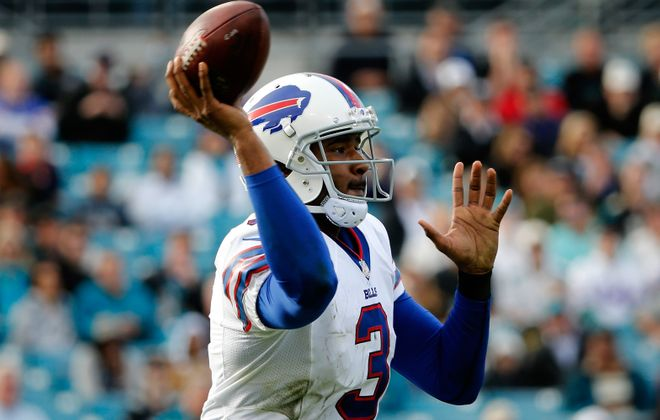 JACKSONVILLE, FL - DECEMBER 15:   EJ Manuel #3 of the Buffalo Bills attempts a pass during the game against the Jacksonville Jaguars at EverBank Field on December 15, 2013 in Jacksonville, Florida.  (Photo by Sam Greenwood/Getty Images)