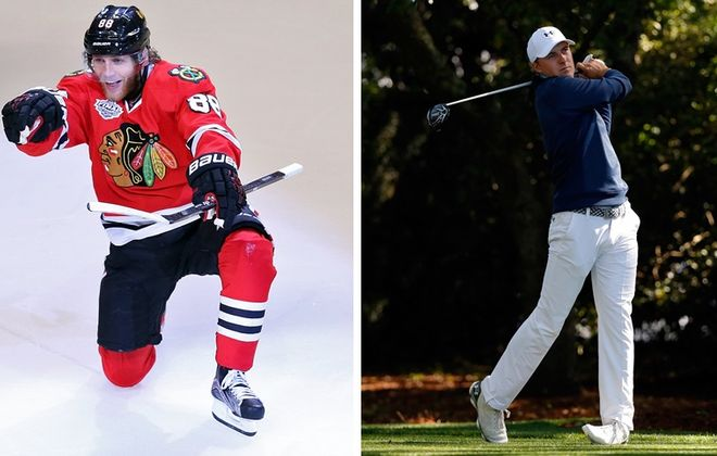 "Patrick Kane and Jordan Spieth are two major topics in the most recent ""Sports Talk Sunday."" (Getty Images)"