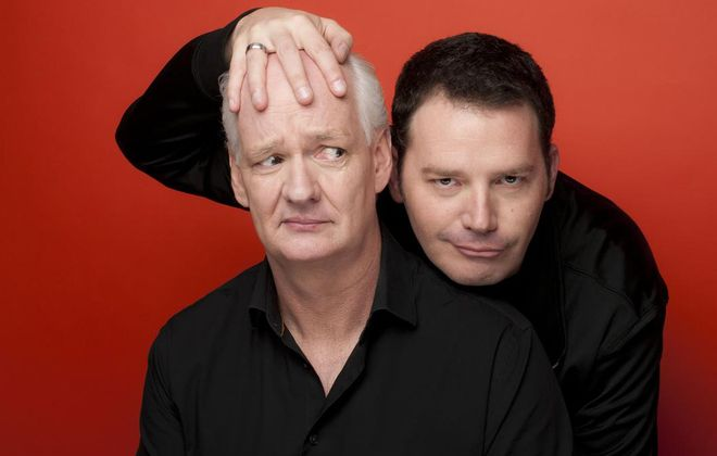 """Improv team Colin Mochrie (left) and Brad Sherwood, best known for the TV show """"Who's Line Is It Anyway?"""", put the concept of """"Yes And"""" to work in life and onstage. (Jonas Public Relations)"""