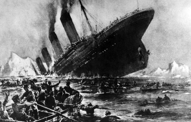 Undated artist impression showing the April 14, 1912, shipwreck of the British luxury passenger liner Titanic off the Nova-Scotia coasts. (OFF/AFP/Getty Images)