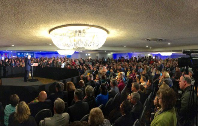 Former President Bill Clinton speaks to a standing room only crowd in Depew on Tuesday. (Derek Gee/ Buffalo News)