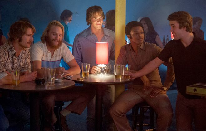 "From left to right: Glen Powell plays Finnegan, Wyatt Russell plays Willoughby, Blake Jenner plays Jake, James Quinton Johnson plays Dale Douglas and Temple Baker plays Plummer in ""Everybody Wants Some."" (Van Redin, Paramount Pictures)"