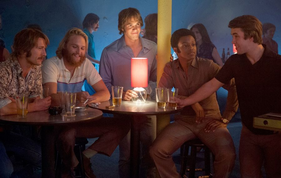 """From left to right: Glen Powell plays Finnegan, Wyatt Russell plays Willoughby, Blake Jenner plays Jake, James Quinton Johnson plays Dale Douglas and Temple Baker plays Plummer in """"Everybody Wants Some."""" (Van Redin, Paramount Pictures)"""
