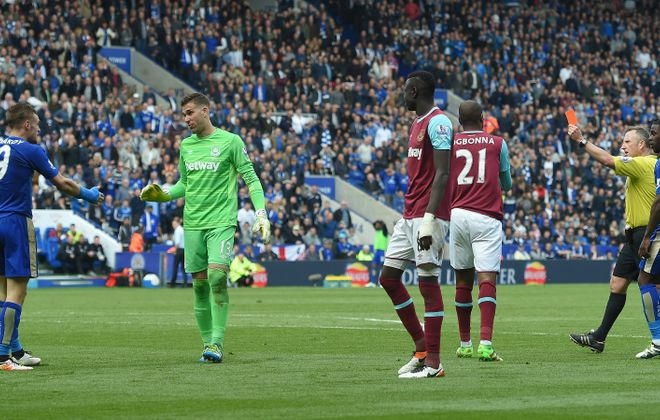 """Jamie Vardy's yellow card, his second of the game, for diving is among the big topics on """"The Football Club of Buffalo Show."""" (Getty Images)"""