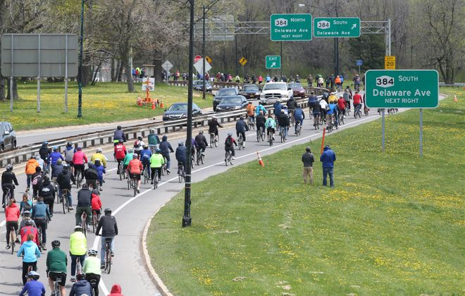 "Slow Roll Buffalo plans two early season rides along a couple of expressways named last week to the national Congress for the New Urbanism ""Freeways Without Futures"" list. (Sharon Cantillon/News file photo)"