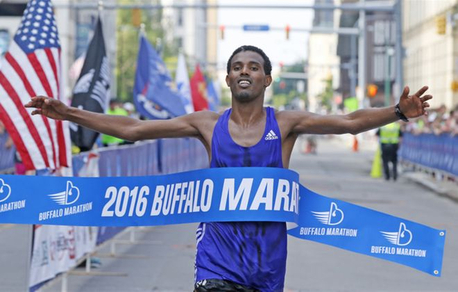 Senbeto Geneti Guteta of Ethiopia wins the Buffalo Marathon. (Harry Scull Jr./Buffalo News)
