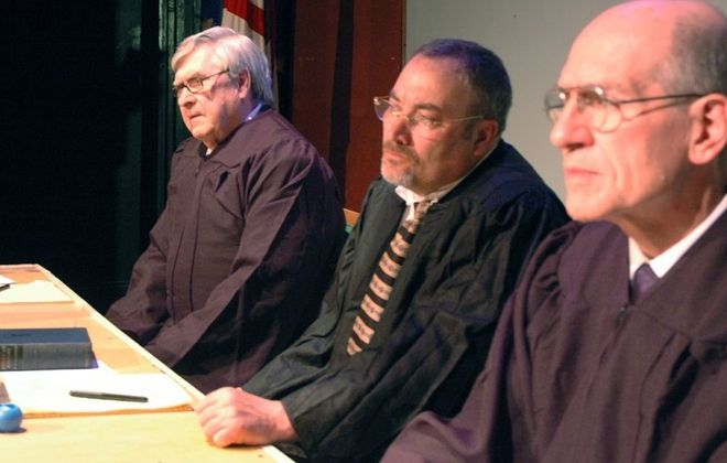 """Jesse Abel, left, David Mitchell and Jack Agugliaro star in """"Judgment in Nuremberg,"""" a collaboration between New Phoenix Theatre and Subversive Theatre."""