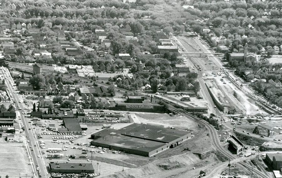 Construction of the Kensington Expressway between Fillmore Avenue, left, and Humboldt Parkway, right, in 1964. The large, low building at center is a Sears, Roebuck & Co. warehouse. (News file photo)