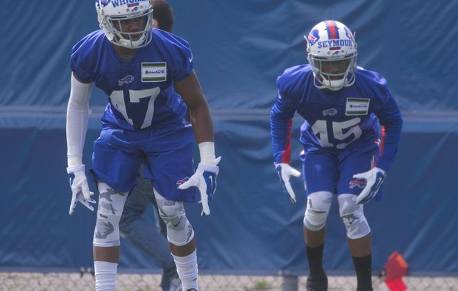 Buffalo Bills cornerback Kevon Seymour, right, works out at Bills rookie camp in Orchard Park.Friday.