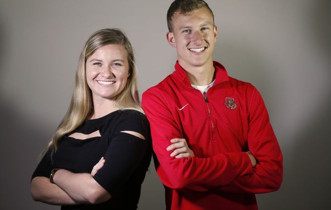 Twins Jenna and Steven Neumaier, who are the valedictorian and salutatorian, respectively, in Lancaster High SchoolþÄôs Class of 2016 pose at their home on Monday, May 16, 2016.  In addition to being high-achieving scholars, Jenna is involved in National Honor Society, English, French, Math & Science Honor societies, Leadership Academy, Student Union, cross country, indoor track and softball; and Steven involved in Spanish Honor Society, Science Honor Society, Math Honor Society, National Honor Society, track and cross country. Jenna plans to study biochemistry at Syracuse University and Steven is going to Cornell for engineering.  (Robert Kirkham/Buffalo News)