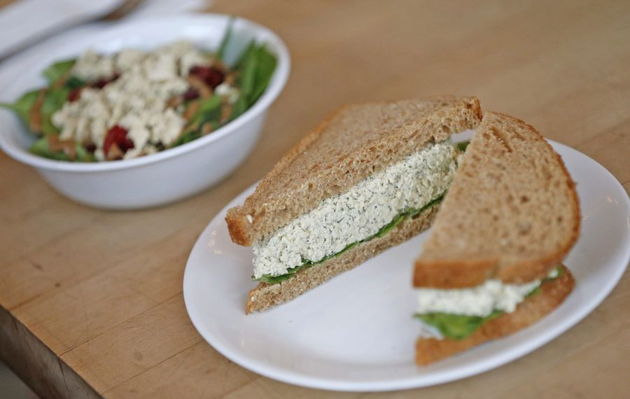 Grindhaus Cafe serves an all-vegetarian menu including Eggless Salad Sandwich and Pepita Power Salad. (Robert Kirkham/Buffalo News)