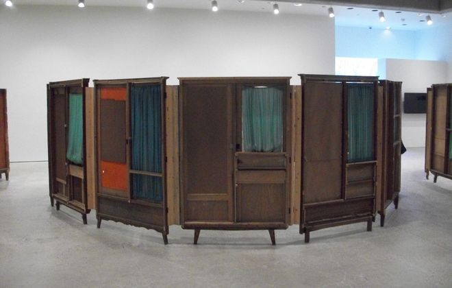 "Vintage wardrobe doors from Song Dong's ""Communal Courtyard"" exhibit at the Art Gallery of Ontario."
