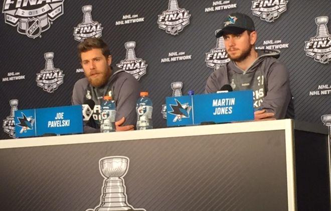 Joe Pavelski and Martin Jones of the Sharks meet the media Tuesday (Mike Harrington/Buffalo News).
