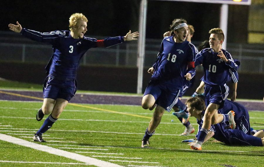 East Aurora celebrates the game-winning goal against I-Prep in the Section VI overall Class B championships. (James P. McCoy/ Buffalo News)