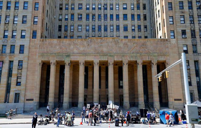"Crews film the movie ""Marshall"" in front of  Buffalo City Hall on June 3, 2016. (Mark Mulville/Buffalo News)"