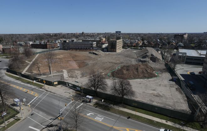 The Gates Circle site of former Millard Fillmore Hospital where Construction is finally set to begin on the $41 million Canterbury Woods senior facility, the owner of the retirement community has officially completed its acquisition of the 1.4-acre site on  Delaware Avenue  and Gates Circle in Buffalo, N.Y., on Tuesday, March 29, 2016. (John Hickey/Buffalo News)