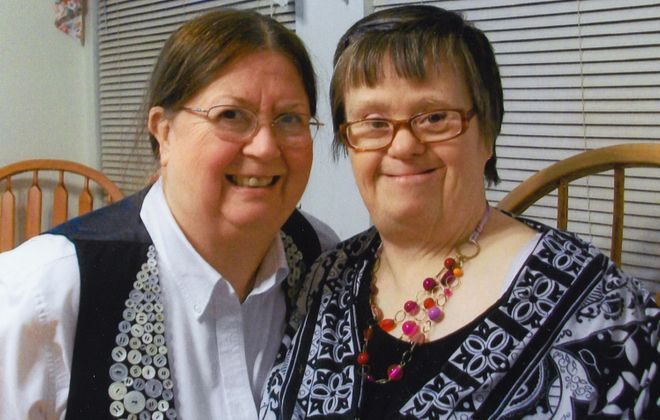 Diane Muench (right), who died in April at 64, in a recent photo with her sister, Sharon Muench Richards. A memorial service for Diane will be held Sunday, in Jamestown. (Family photo)