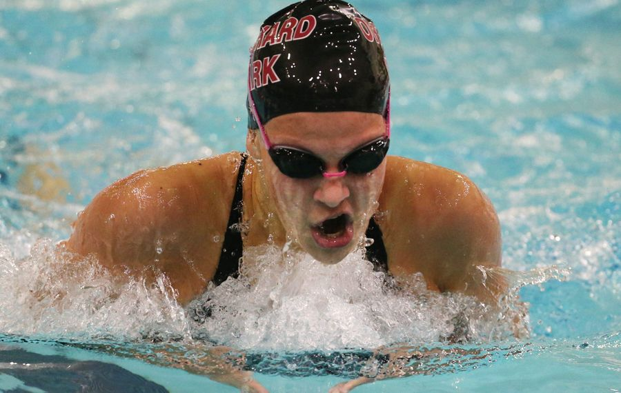 Olivia Sapio of Orchard Park wins the 200 yard IM at the Section VI girls swimming finals at ECC Burt Flickinger Athletic Center in Buffalo,NY on Friday, Nov. 6, 2015.  (James P. McCoy/ Buffalo News)