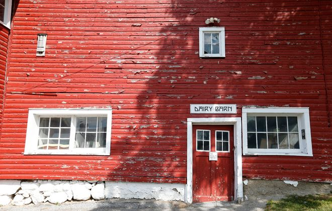The exterior of the dairy barn at Knox Farm State Park, as seen July 19.       (Mark Mulville/Buffalo News)