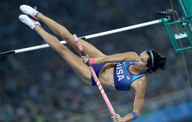 Jenn Suhr, the Fredonia native who won the gold medal in women's pole vault in the 2012 Games, misses her attempt at 4.70 meters on Friday night, knocking her out of medal contention.