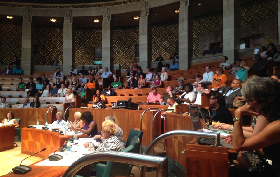 The Buffalo School Board meets in Common Council chambers in City Hall. (Tiffany Lankes/Buffalo News)