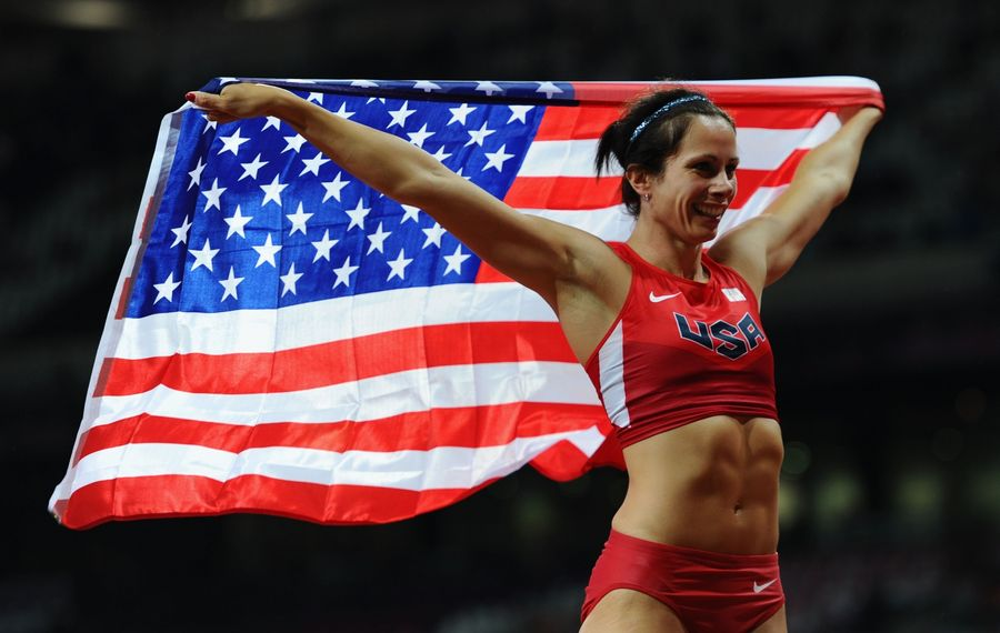 Fredonia's Jenn Suhr celebrates after winning the gold medal at the London 2012 Olympics. (Getty Images)