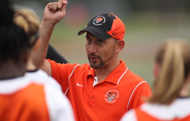 SUNY Buffalo State soccer coach Nicholas DeMarsh. (Photo courtesy of Buffalo State Athletics)