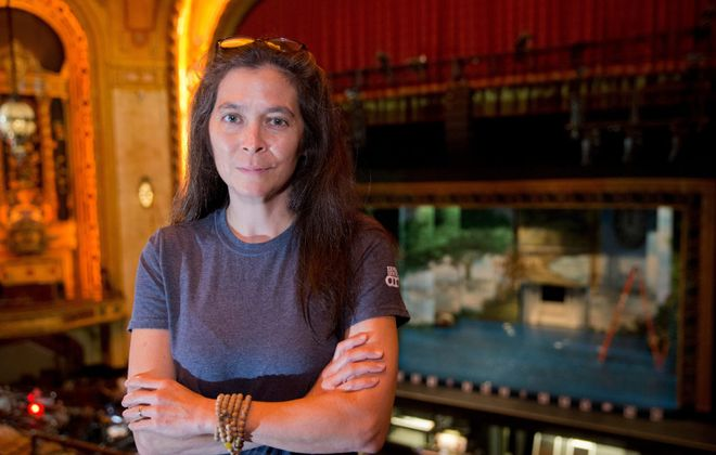 """""""Finding Neverland"""" director Diane Paulus at work in Shea's Performing Arts Center  in Buffalo, N.Y. on Thursday Sept. 29, 2016.   (John Hickey/Buffalo News)"""