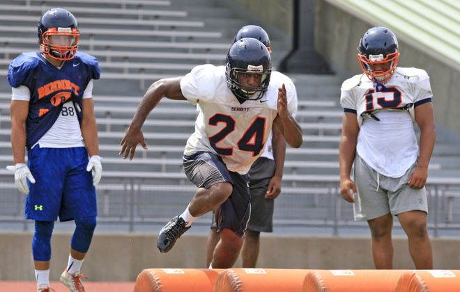 Bennett's Marcelus Toliver steps it up during a preseason workout at All High Stadium. His Tigers figure to be contenders for the Class A championship this season.