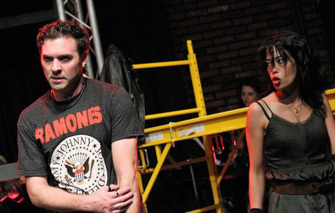 """Christopher Teal and Sara Kow-Falcone star in   """"American Idiot"""" presented by American Repertory Theater of WNY  (Photo by Sarah McIlhatten)"""