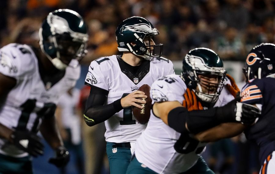 The Eagles' Carson Wentz is 2-0 while completing 60 percent of his passes. (Getty Images)