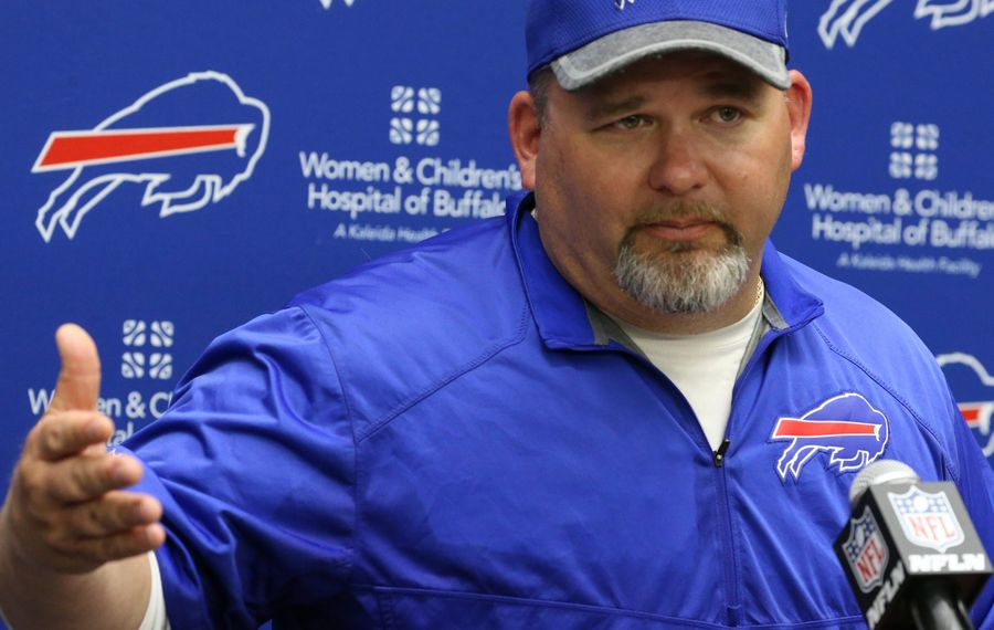 Greg Roman , Bills Offensive Coordinator talks to the press at the end of todays Bills Buffalo Bills mandatory minicamp at the ADPRO training center in Orchard Park, NY on Tuesday, June 15, 2016.  (James P. McCoy/ Buffalo News)