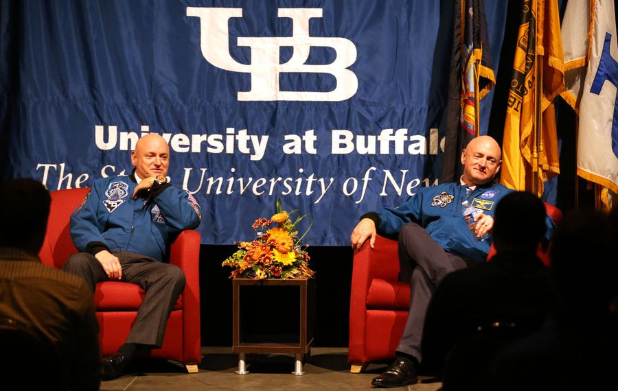 The Kelly twins, Scott, left, and Mark talk with UB students during a question and answer session before their appearance last Thursday as part of UB's Distinguished Speakers Series.