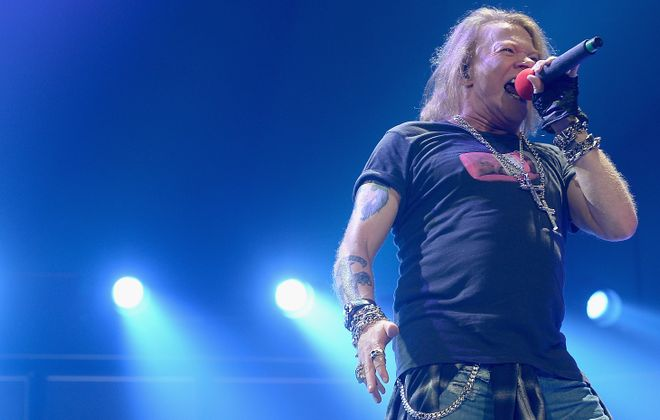 Axl Rose, performing here in Florida, stopped by the First Niagara Center with AC/DC on Sunday, Sept. 11, 2016. (Getty Images)