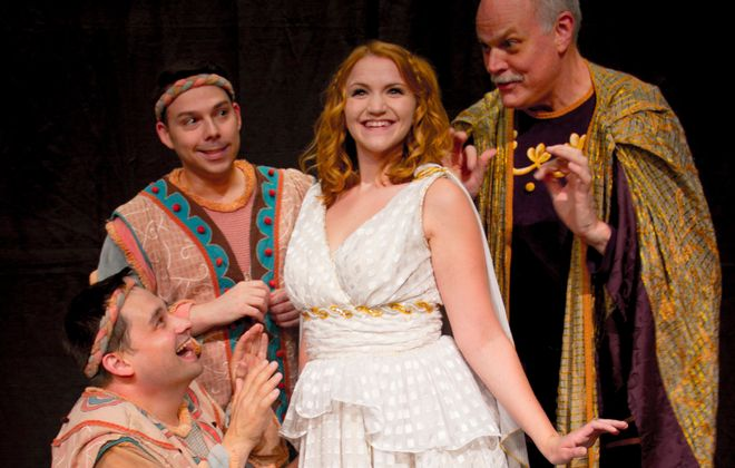 "David Bondrow, Marc Sacco, Chrissy Vogric and Tim Hartman star in the Lancaster Opera House production of ""A Funny Thing Happened on the Way to the Forum."""