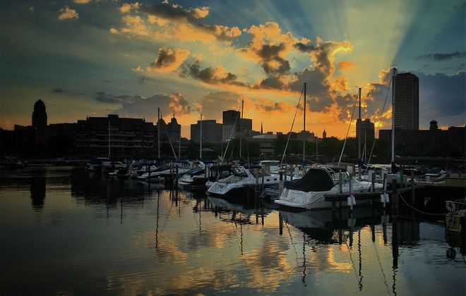 Sunrise over Erie Basin Marina. (Cathaleen Curtiss/Buffalo News)