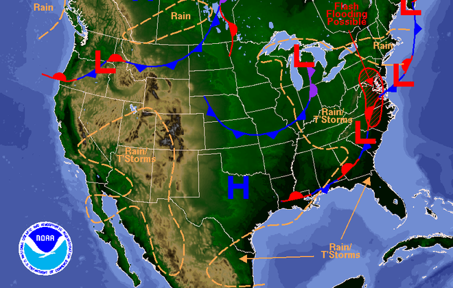 "An area of upper-level low pressure will slowly sink southeastward through Michigan into the Ohio Valley over the next 24 hours. The weather will help to ""fetch moisture"" from the Atlantic Ocean, forecasters said, which will bring heavy rains to the Mid-Atlantic region with lesser amounts in the Buffalo Niagara region. Clouds will increase this afternoon and rain will start later tonight, forecasts show. (National Weather Service)"
