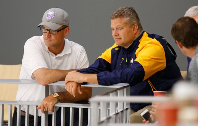Bob Woods, right, is one of two new assistants for Sabres coach Dan Bylsma. (Harry Scull Jr./Buffalo News)