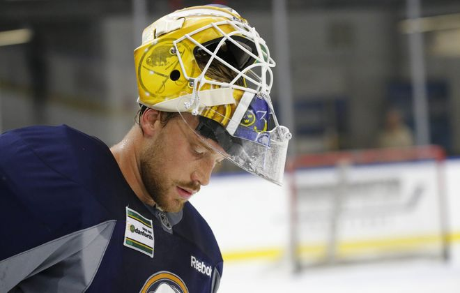 Anders Nilsson earned his second NHL shut out on Saturday. (Derek Gee/Buffalo News)