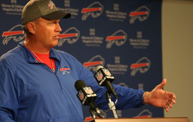 Buffalo Bills head coach Rex Ryan address the press at his weekly press conference at ADPRO Sports Training Center in Orchard Park, N.Y. on Wednesday, Oct. 19, 2016.  (James P. McCoy/ Buffalo News)