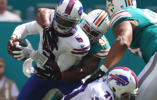 Buffalo Bills quarterback Tyrod Taylor couldn't find much room to operate Sunday against the Miami Dolphins. (James P. McCoy/Buffalo News)