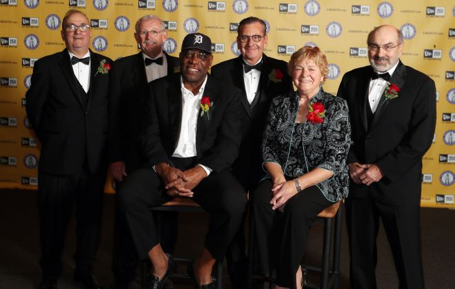 From left, Sal Buscaglia, Bud Carpenter, Reggie McKenzie, Benjamin Bluman, Cindy Wyatt and Ed Michael were inducted into the Greater Buffalo Sports Hall of Fame on Thursday night at the Buffalo Niagara Convention Center.