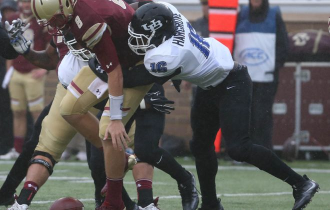 Junior linebacker Ishmael Hargrove, forcing a fumble against Boston College, is second to Khalil Hodge in number of tackles among UB defenders.