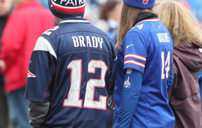 Bills and New England fans tailgate in the parking lot before the game at Gillette Stadium in Foxborough, N.Y. on Saturday, Oct. 1, 2016.  (James P. McCoy/ Buffalo News)