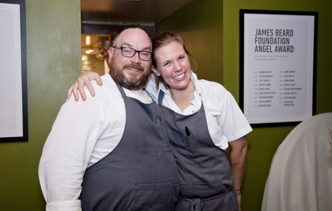 Black Sheep chefs Steven and Ellen Gedra pose before serving a meal at the James Beard House. (Rina Oh/James Beard)