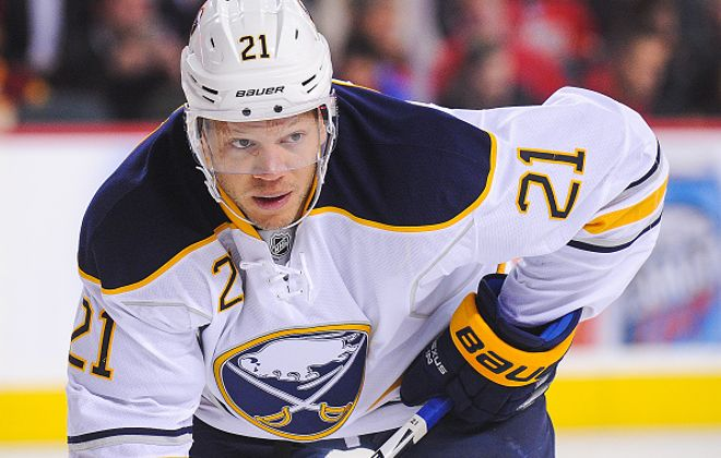 Kyle Okposo led the Sabres with six shots on goal Thursday in Vancouver (Getty Images).